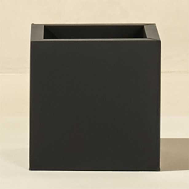 blox medium square galvanized charcoal planter - CB2