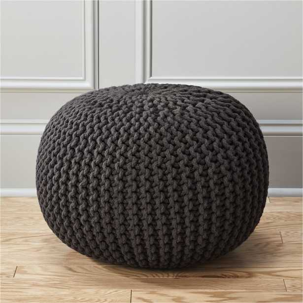 knitted graphite pouf - CB2