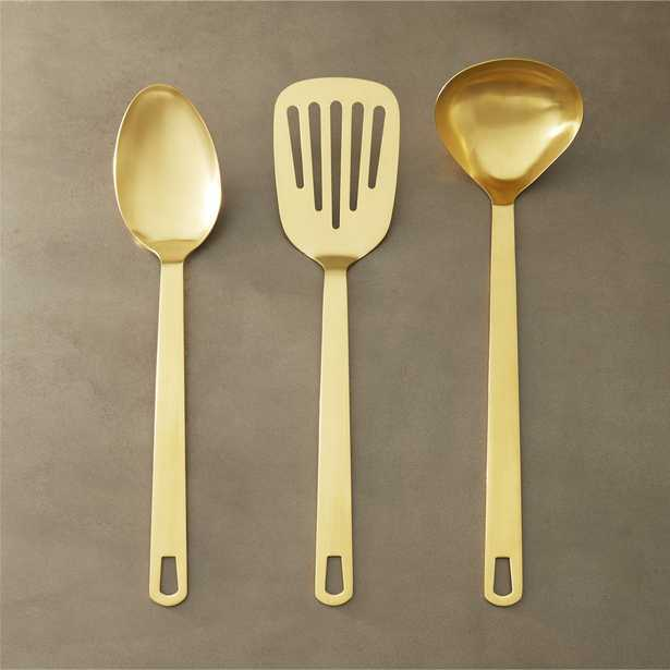 set of 3 brushed gold kitchen utensils - CB2