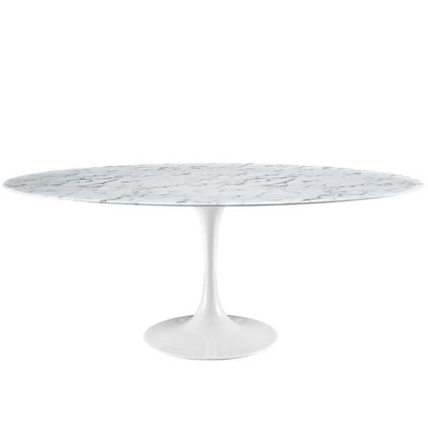 """Lippa 78"""" Oval-Shaped Marble Dining Table in White - Modway Furniture"""