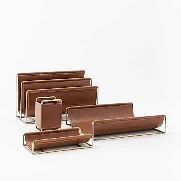 Leather + Brass Office Accessories, Set of 4 - West Elm
