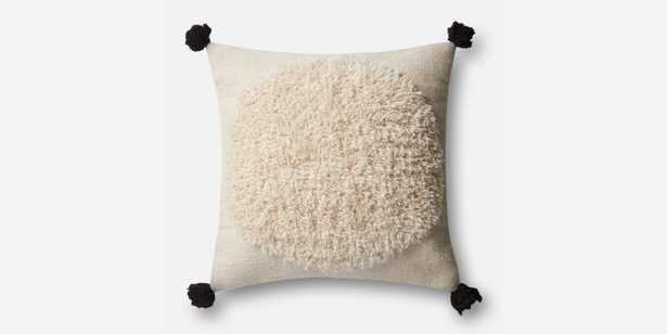 """P0483 IVORY / BLACK Pillow - 22"""" x 22"""" with down Insert - Loma Threads"""