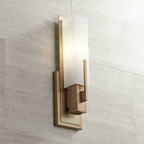"""Midtown 15"""" High White Glass Burnished Brass Wall Sconce - Lamps Plus"""
