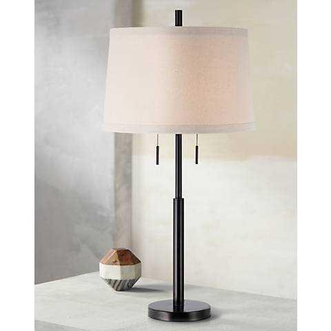 Possini Euro Design Matte Dark Bronze Stick Table Lamp - Lamps Plus