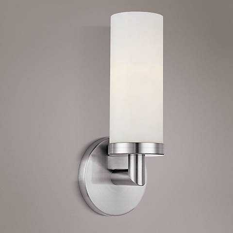 """Aqueous 12"""" High Brushed Steel Wall Sconce - Lamps Plus"""
