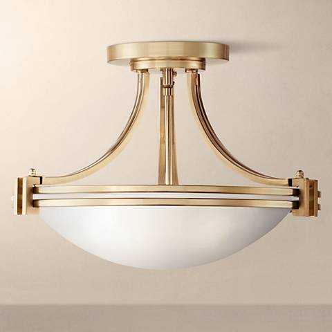 "Possini Euro Deco 16"" Wide Warm Brass Ceiling Light - Lamps Plus"