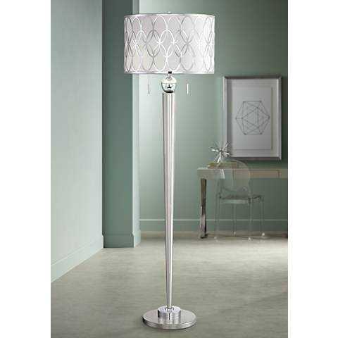 Possini Euro Spyra Brushed Steel Metal Floor Lamp - Lamps Plus