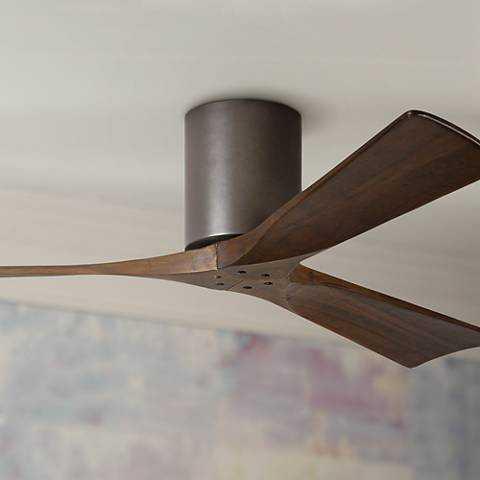 """52"""" Matthews Irene 3-Blade Walnut-Bronze Hugger Ceiling Fan - Lamps Plus"""