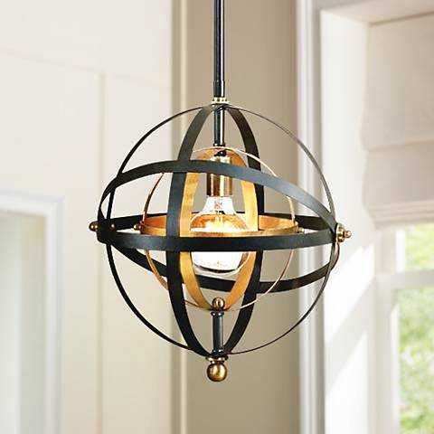 """Uttermost Rondure 15"""" Wide Bronze and Brass Orb Pendant - Lamps Plus"""