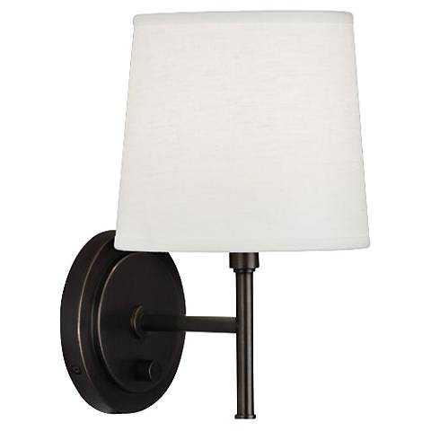 Robert Abbey Bandit Deep Patina Bronze Plug-In Wall Sconce - Lamps Plus