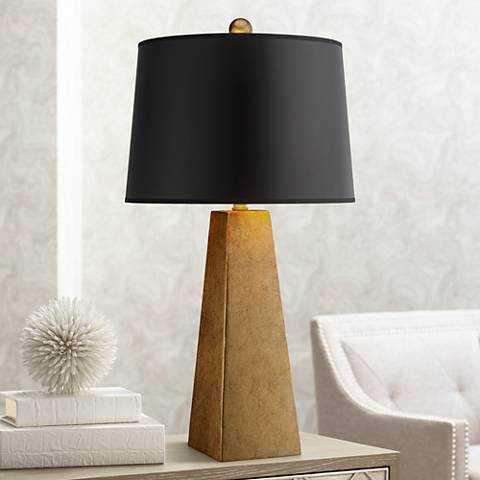 Possini Euro Design Gold Leaf Obelisk Table Lamp - Lamps Plus