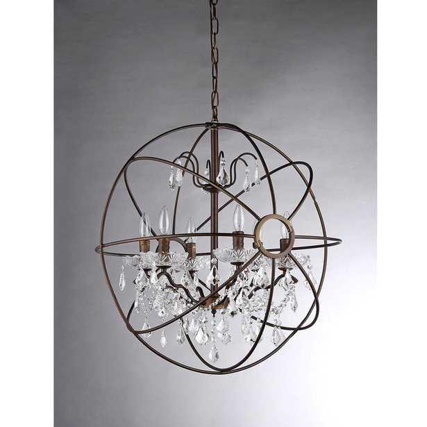 Edwards 6-Light Antique Bronze Sphere Crystal Chandelier - 32'' - Home Depot