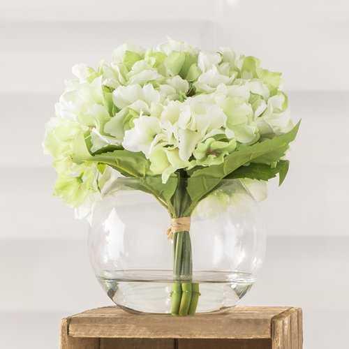 Hydrangea Arrangement in Glass Vase - AllModern