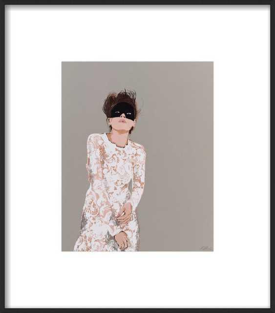 "Woman in Mask - 14x16"" - Matte Black Metal Frame with Matte - Artfully Walls"