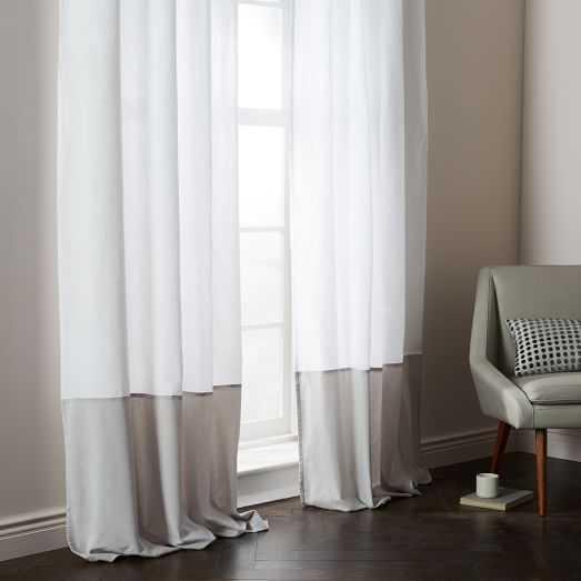 Belgian Flax Linen Velvet Colorblock Curtain - White/Frost - West Elm