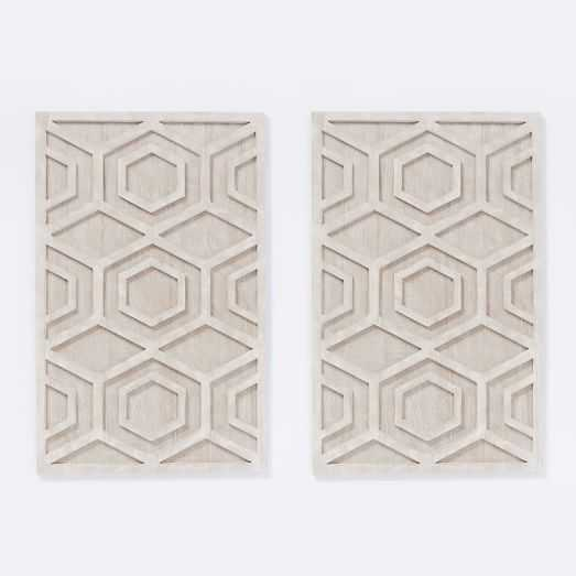 Whitewashed Wood Wall Art - Hexagon, Set of 2 - West Elm