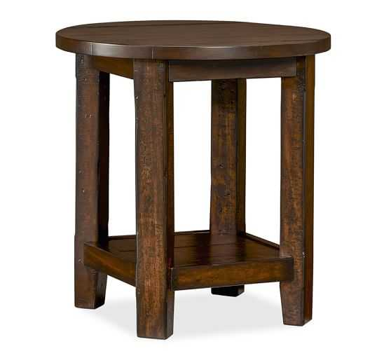 BENCHWRIGHT ROUND SIDE TABLE, RUSTIC MAHOGANY - Pottery Barn