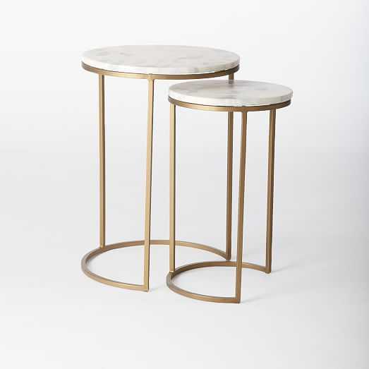 Round Nesting Side Tables Set - Marble/Antique Brass - West Elm