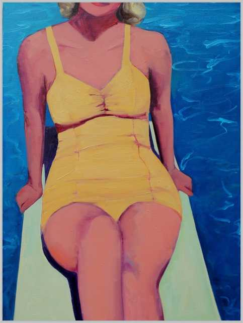 """Diving Board Beauty by T. S. Harris - 28"""" x 36"""" - Metal frosted silver frame - Artfully Walls"""