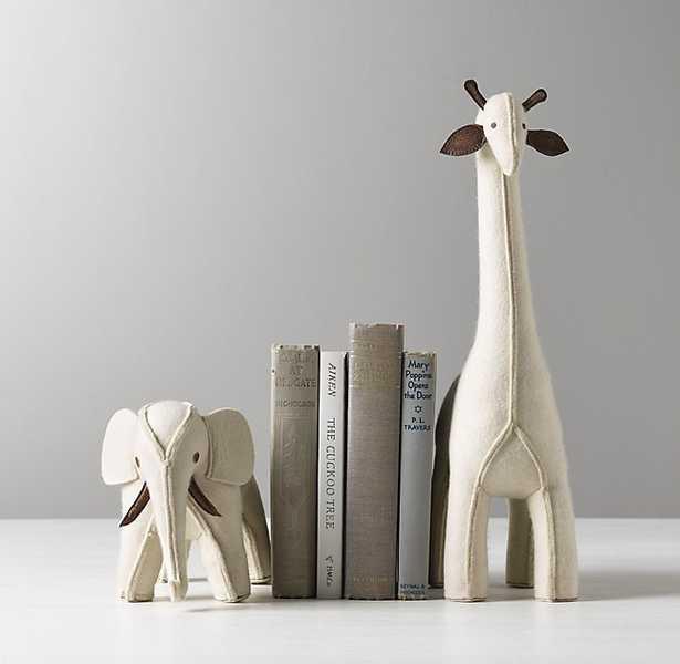 WOOL FELT ANIMAL BOOKEND-Ivory-elephant - RH Baby & Child