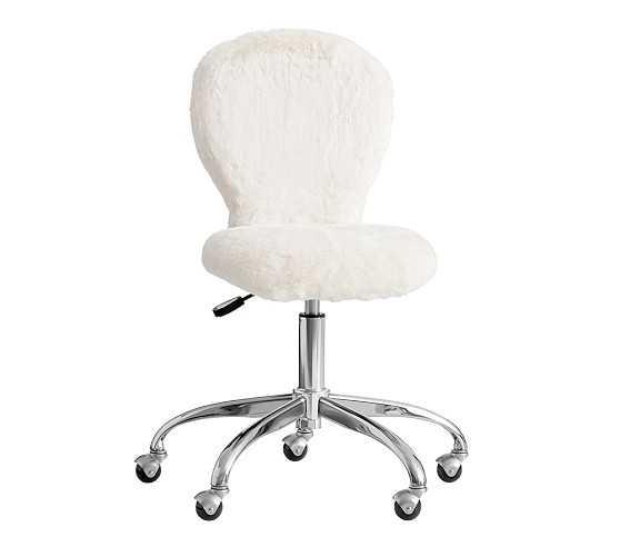 Round Upholstered Desk Chair, Brushed Nickel Base - Pottery Barn Kids
