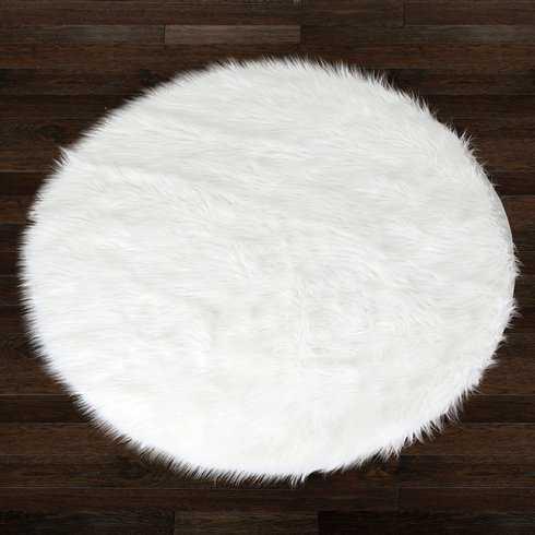 Alair White Round Faux Fur Area Rug - Wayfair