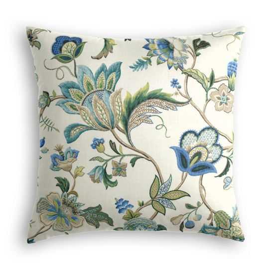 Fleur De Leaf - True Blue Pillow - Loom Decor
