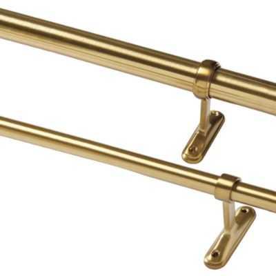 "Single Rod Drapery Hardware Kit, 48""-88"" - Brass, 1.25"" - Ballard Designs"