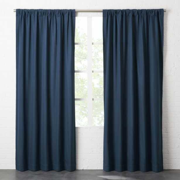 """Navy Blue Basketweave II Curtain Panel 48""""x96"""""" - CB2"