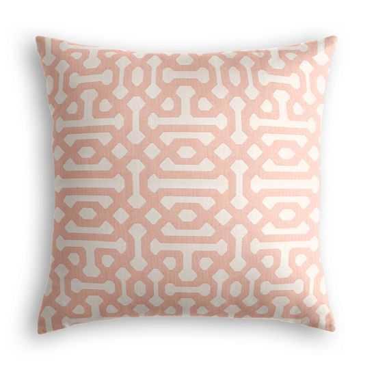 "Outdoor Pillow  Sunbrella® Fretwork - Cameo - 16"" SQ. - Loom Decor"
