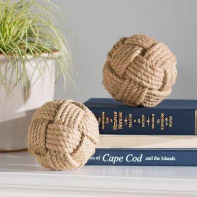 Brown Jute Knot Decorative Ball (Set of 2) - Wayfair