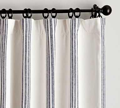 "Riviera Striped Linen/Cotton Rod Pocket Curtain, 50 X 84"", Navy - Pottery Barn"