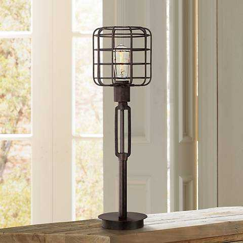 Franklin Iron Works™ Industrial Cage Accent Lamp - Lamps Plus