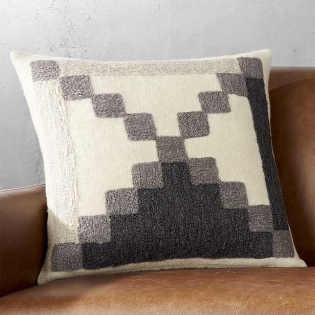 """""""18"""""""" Lumi Grey and White Pillow with Down-Alternative Insert"""" - CB2"""