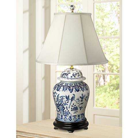 English Floral Hand-Painted Porcelain Ginger Jar Table Lamp - Lamps Plus