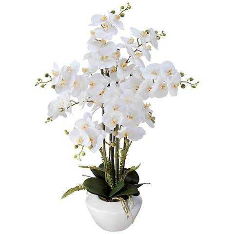 """White Phalaenopsis Orchid 29""""H Faux Floral Arrangement - Lamps Plus"""