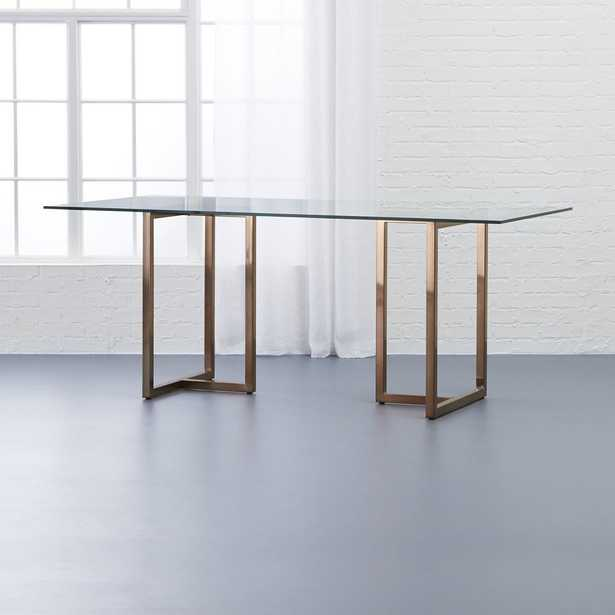 """Silverado Brass 72"""" Rectangular Dining Table with Glass Top - CB2"""