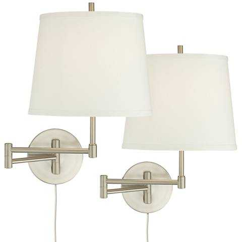 Oray Brushed Steel Swing Arm Wall Lamp Set of 2 - Lamps Plus