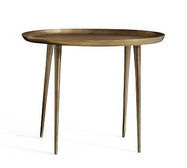 Euclid Oval Accent Table, Brass - Pottery Barn