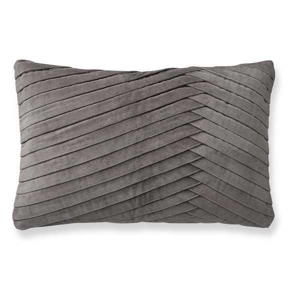 Pleated Velvet Lumbar Pillow Cover, Steeple Gray - Williams Sonoma