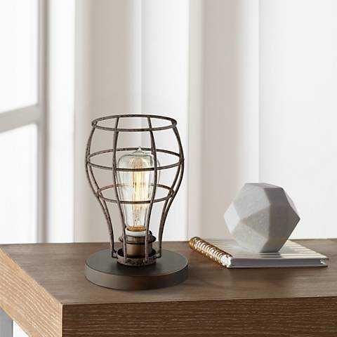 "Oldham Industrial Uplight 9 1/2""H Edison Bulb Table Lamp - Lamps Plus"