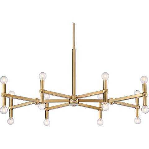 """Possini Euro Clark 37"""" Wide Satin Brass 16-Light Chandelier - Lamps Plus"""