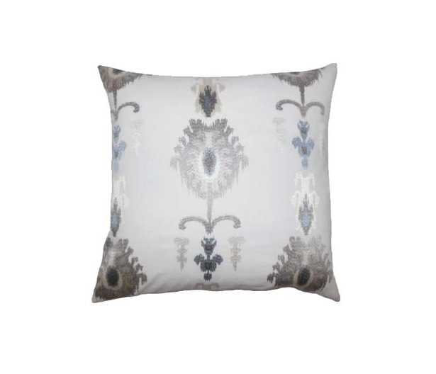 "Calico Ikat 20"" Pillow, Platinum - Linen & Seam"