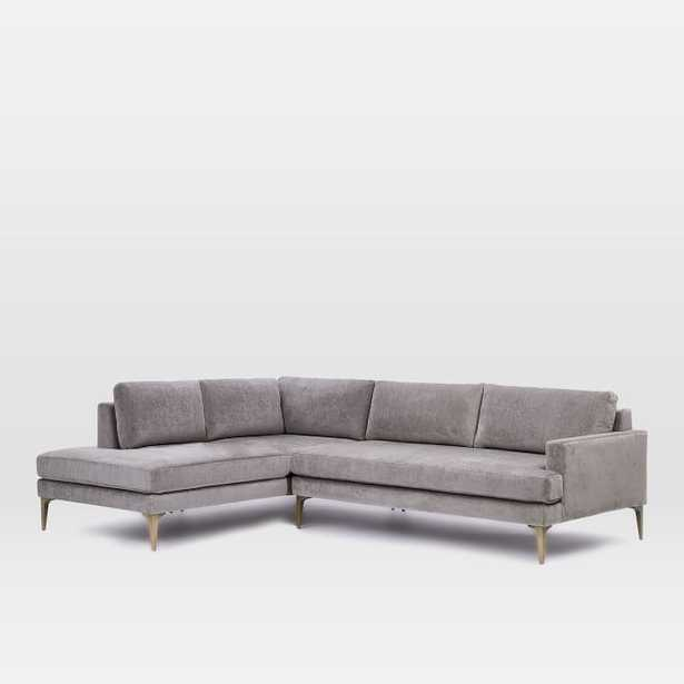 """Andes Terminal Chaise Sectional - Metal, Worn Velvet - Large (96.5"""" w) Right Arm - West Elm"""