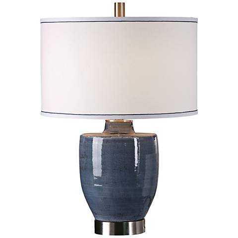Uttermost Sylvaine Crackle Blue-Gray Ceramic Table Lamp - Lamps Plus