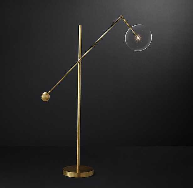 GLASS GLOBE MOBILE LEVER FLOOR LAMP - RH Modern