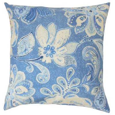 Behitha Floral Cotton Throw Pillow- down insert 18 x 18 - Linen & Seam