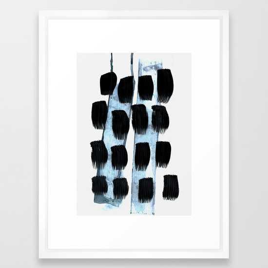 Black white Blue - FRAMED ART PRINT VECTOR WHITE MEDIUM (GALLERY) - Society6
