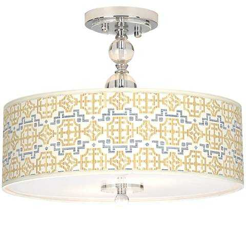 """Willow Chinoiserie Giclee 16"""" Wide Semi-Flush Ceiling Light - Lamps Plus"""