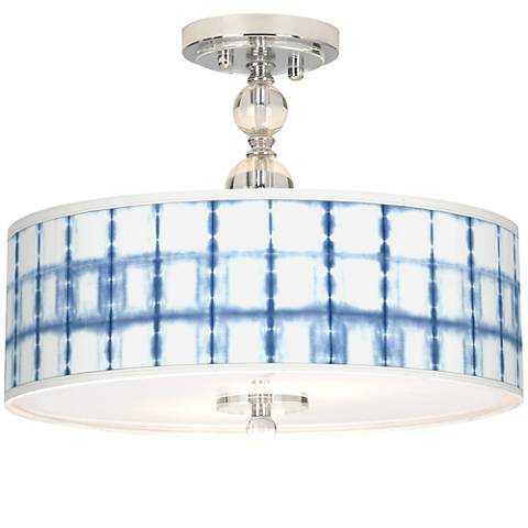 "Blue Mist Giclee 16"" Wide Semi-Flush Ceiling Light - Lamps Plus"